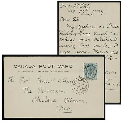 Ompah Ontario broken circle to Ottawa, Chelsea Quebec 1899 PSC P22 stationery
