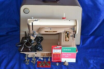 Singer 404 Slant Needle Sewing Machine Serviced Ready To Sew Case Quilters