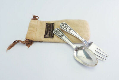 Queen & King antique sterling silver baby child spoon fork set by Tiffany & Co