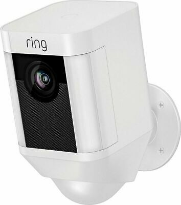 Ring Spotlight Cam Outdoor Battery-Powered Security Camera - White- Brand New