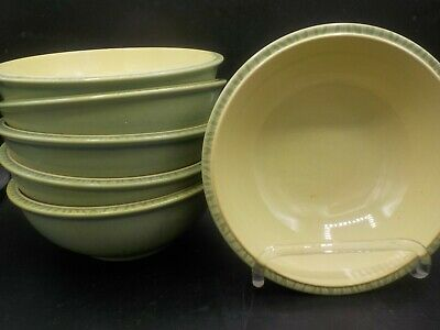 "6 Denby Calm Light Green England 7"" Cereal Soup Bowls"