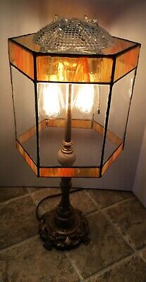 Antique 1920's Lamp, Edison lights, Custom made Stained Glass Lamp Shade