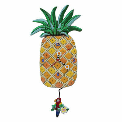 Wall Clock Pineapple with Pendulum Kitchen Watch Country House Allen Design Gift