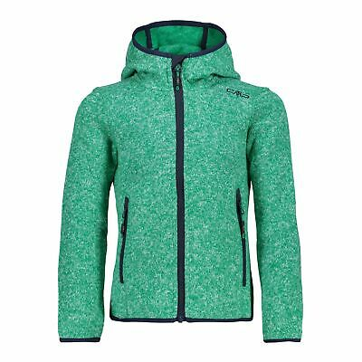 CMP Fleece Jacket Girl Jacket Fix Hood Green Breathable Warming Mottled