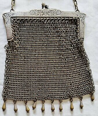 Antique Arts Crafts German Silver Repousse Evening Bag Purse Handbag Nouveau #3