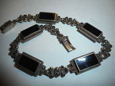 Antique art deco black Onyx & Marcasite Sterling Silver BRACELET Cast heavy mint