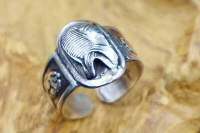 Antique Egyptian Silver Ring Band Adjustable Ancient Tutankhamun Mask_Stamped