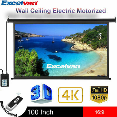 100inch 16:9 3D Electric Motorized HD Projector Projection Screen Cinema Theater