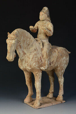 Tang Dynasty, Antique Chinese Painted Pottery Horse and Rider