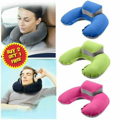 Shape Inflatable Soft Neck Pillow Air Blow Up Cushion Airplane Travel Packsack*