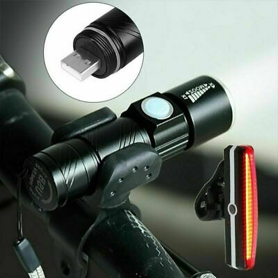 LED USB Rechargeable Mountain Bike Road Cycle Head Front Light Rear Tail Lamp s