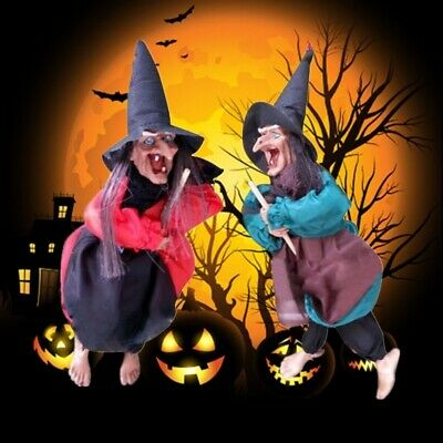 Halloween Hanging Animated Talking Witch Props Laughing Sound Control Decor USLY