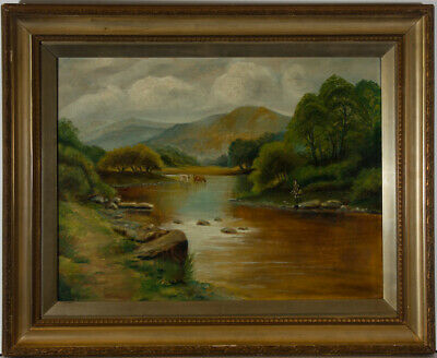 Framed Late 19th Century Oil - River Landscape with Fisherman