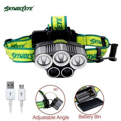 UK 12000LM 5 x XML CREE T6 LED Rechargeable Head Torch Headlamp Light Lamp AE