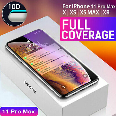 10D Tempered Glass Full Screen Protector For iPhone 11 Pro Max XS Max Xr 7 8 Dr