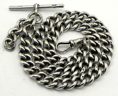 Antique Solid Silver Albert Pocket Watch Chain, 62gr, Birm 1904, By HP.