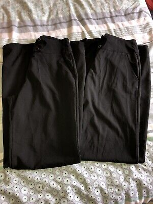 Bundle Of 2 Pairs Of Ladies Black Trousers Size 10 Pockets