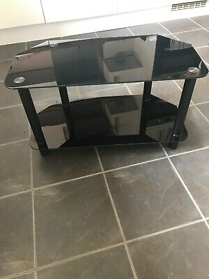 Black Tempered Glass TV Stand Two Tier Good Condition