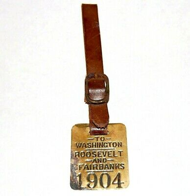 1904 TEDDY ROOSEVELT FAIRBANKS WATCH FOB theodore campaign pinback button badge