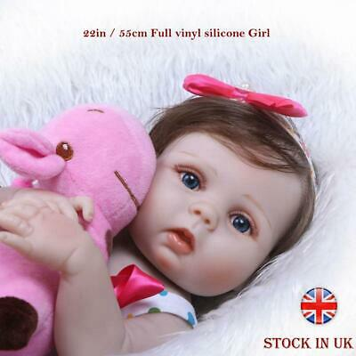"22"" Reborn Baby Dolls Full Body Vinyl Silicone Girl Doll Real Lifelike Newborn"