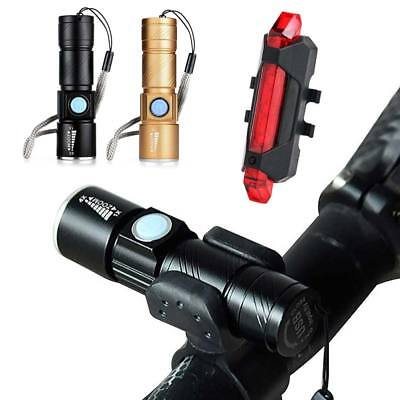 MTB Bike Bicycle Cycling LED USB Rechargeable Head Front Light Rear Tail Lamp s