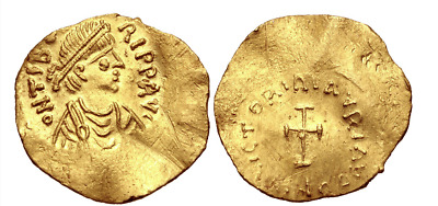 RARE ANCIENT BYZANTINE GOLD COIN : Maurice Tiberius. 582-602. AV Tremissis  !!!
