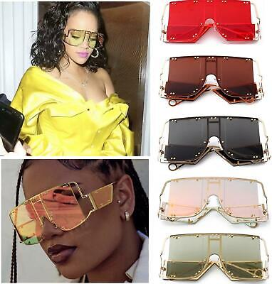 Rihanna celebrity Square Sunglasses Women New Oversized Mirror Men Metal Shades