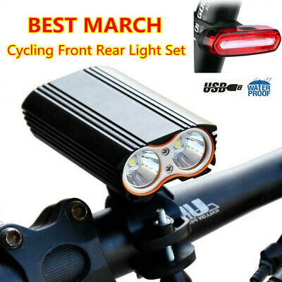 HOT Mountain Bike Bicycle Cycling LED Front Rear Tail Light Set USB Rechargeable