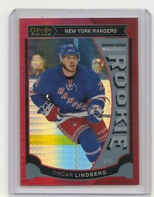 2015-16 O-Pee-Chee Platinum Oscar Lindberg Red Prism Insert Card 001/149 Rangers