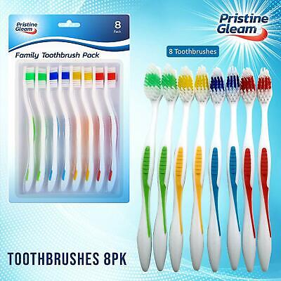 8 Pack | Toothbrushes | Soft Bristles 4 Soft Gums | Multi-Coloured Family Pack