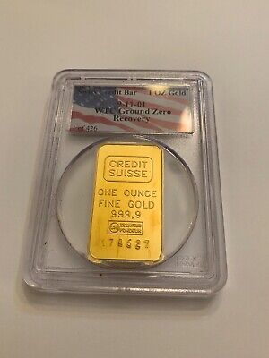 PURE 1ozt GOLD CREDIT SUISSE Bar 9/11 WTC Ground Recovery 1/426 Bullion Ser. #'d