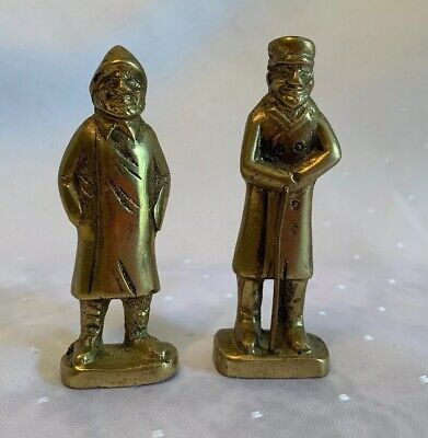 "2 Vintage Cast Brass FISHERMEN SHIPS CAPTAINS Figurines 3.25"" Tall"