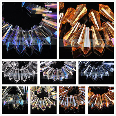 10pcs 25X10mm Faceted Crystal Glass Chandelier Hanging Drop Loose Beads Pendant