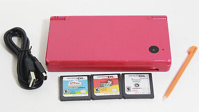 Nintendo DSi Boutique Pink Handheld System Console (3) Game Bundle w/ Camera