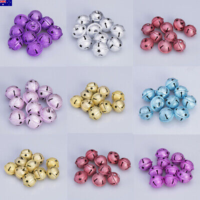 AU 10Pcs Shiny Jingle Bells Pendant Christmas Decor Bag Charm Wind Chime 30mm
