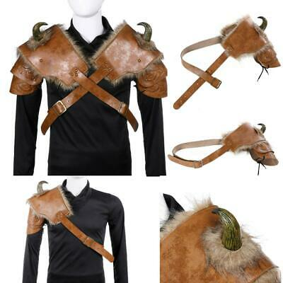 Halloween Adults PU Leather Cosplay Medieval Viking Armor Shoulder Prop Costume