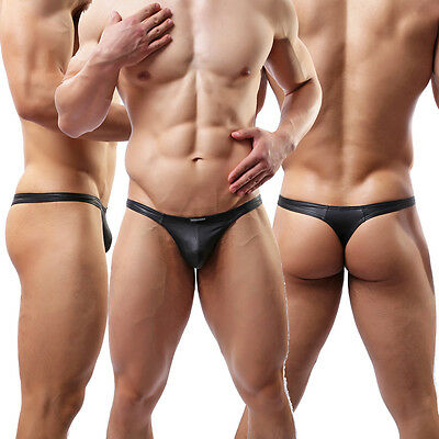 Mens Thong G-string PU Leather Bulge Pouch Tanga Exotic T-back Panties Bikini