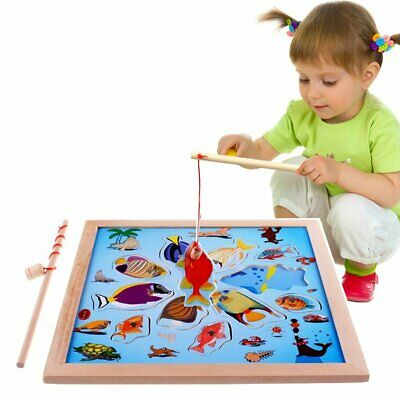 Wooden Magnetic Jigsaw Puzzle Board Kids Baby Fishing Game Toy Set Training Gift