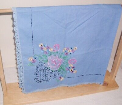 Vintage Embroidered Blue Tablecloth Table Topper Crocheted Edge