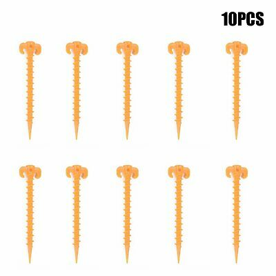 10pcs Hook Plastic Stakes Support Ground Nails Tent Pegs Screw /G Anchor Shelter