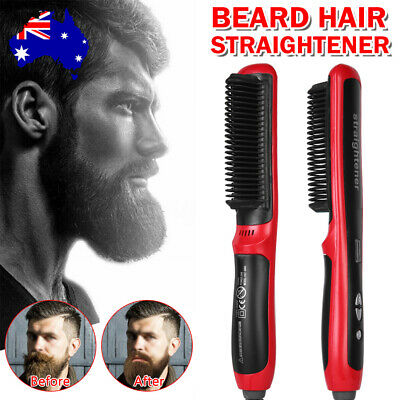 Men Beard Curling Straightener Brush Hair Comb Straightening Show Cap Quick Iron