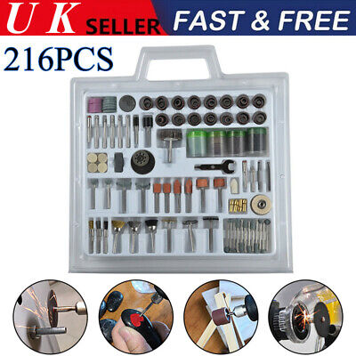 216 Pieces Rotary Tool Accessories Kit Mini Polish Grind Drill Cut Engrave Bits