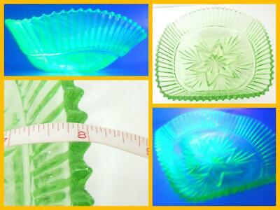 "Antique Art Deco Sowerby Green Uranium Glass Bowl Approx 8"" Inch VGC"