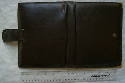 vintage Leather Stationery Folder - Dark Brown
