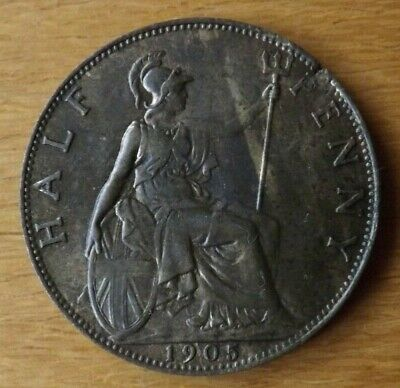 British Edwardian Halfpenny Coin 1905 EF Grade Streaky Lustre Toned Lovely.