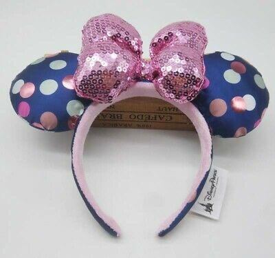 NEW Disney Parks Minnie Mouse Dots Sequin Bow Pink Blue Headband Hat