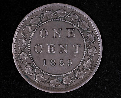 1859 Canada Large Cent Copper Coin Narrow Low 9 Variety Extra Fine #Fc1009