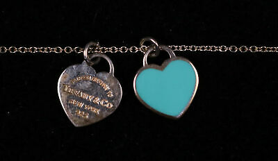 "Tiffany & Co Blue Enamel Double Mini Hearts Necklace Chain 16"" Return To Tiff..."