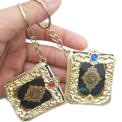 Am_ Islam Religion Quran Book Vintage Key Chain Ring Holder Pendant Hanging Deco