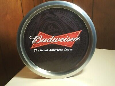 12 1/2 inch BUDWEISER ROUND TIN BEER TRAY 2009 Anheuser Busch Collectable Fr Shp